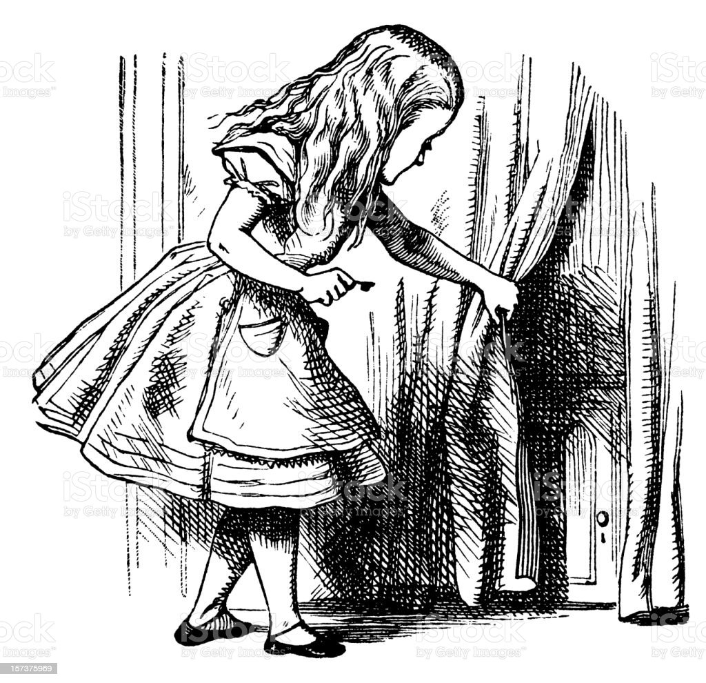 Alice and a tiny door illustration, (Alice's Adventures in Wonderland) royalty-free stock vector art