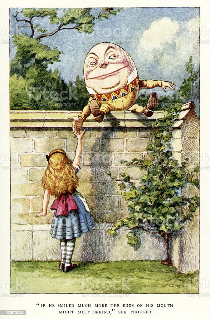 Alice and Humpty Dumpty vector art illustration