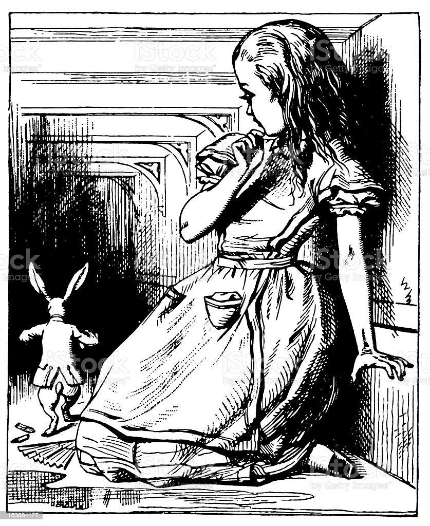 Alice and Rabbit illustration, (Alice's Adventures in Wonderland) royalty-free stock vector art