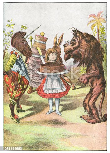 Alice holding a plum cake with The Lion and the Unicorn from Through the Looking-Glass, and What Alice Found There. Antique etching circa late 19th century.