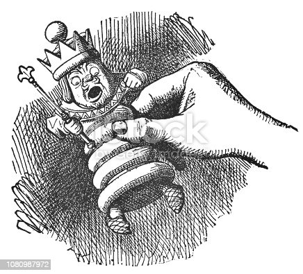 istock Alice Holding the White King in Her Hand in Through the Looking-Glass 1080987972