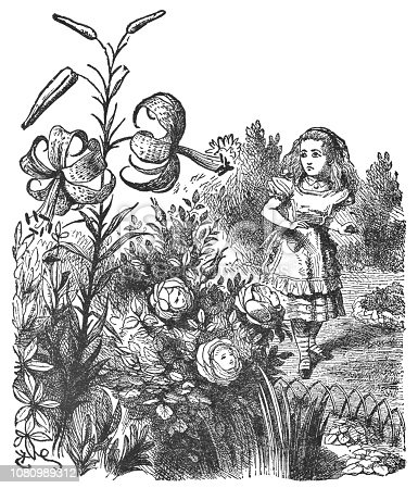 istock Alice in the Garden of Live Flowers in Through the Looking-Glass 1080989312