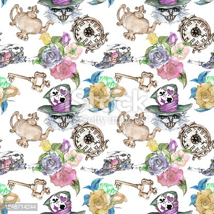 istock Alice in Wonderland cute bunny and Cheshire cat watercolor objects set seamless pattern 1248714244