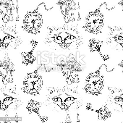 istock Alice in Wonderland cute clock and Cheshire cat  monochrome sketch isolated objects set seamless pattern 1243760038