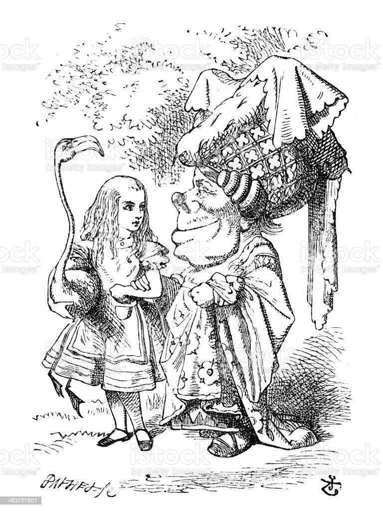 Alice in Wonderland vector art illustration