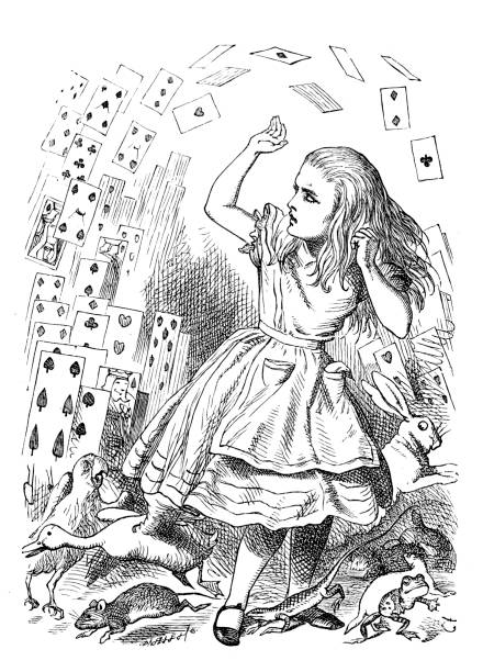 Alice in Wonderland Vintage engraving of a scene from Alice in Wonderland - Alice's Evidence name of person stock illustrations