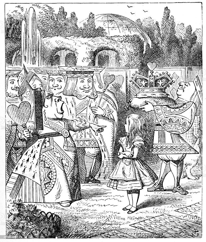 Alice in Wonderland - Queen of Hearts vector art illustration