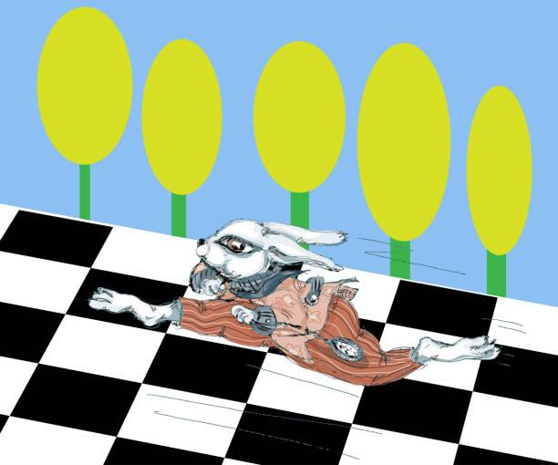 Alice au pays des merveilles exécutant l'illustration blanche de lapin - Illustration vectorielle