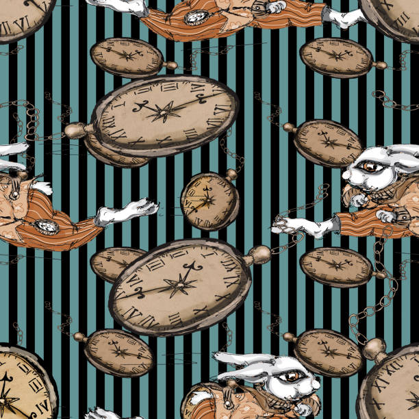 Alice au pays des merveilles exécutant le modèle sans couture de lapin blanc sur le fond de cru de Grunge - Illustration vectorielle