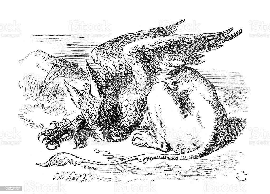 Alice nel Paese delle Meraviglie-Griffen - illustrazione arte vettoriale