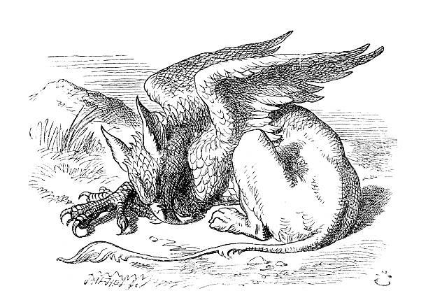 alice in wonderland-griffen - 그리핀 stock illustrations