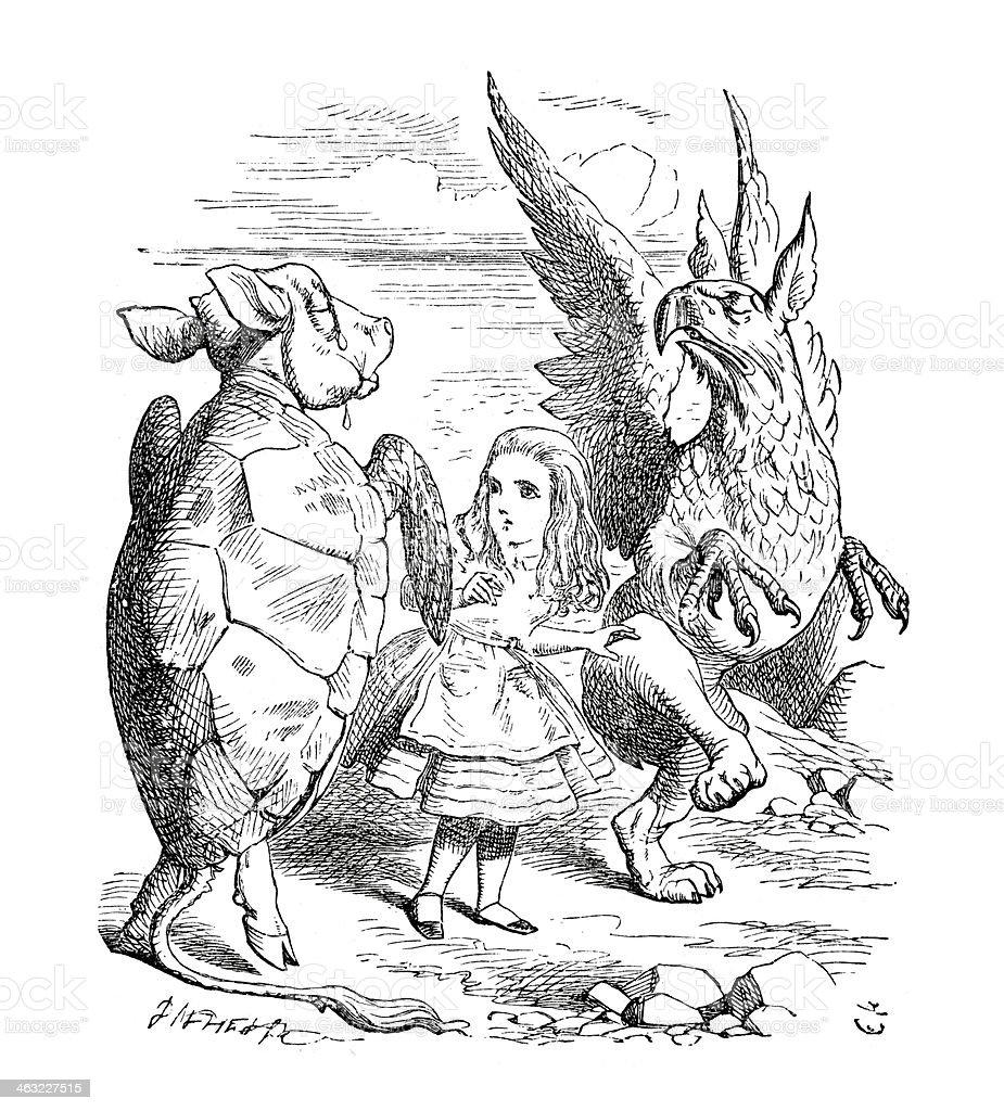 Alice in Wonderland - The Mock Turtle's Story royalty-free stock vector art