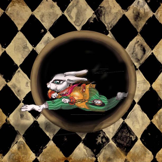 Alice au lapin blanc Wonderland aquarelle à la main un personnage dessiné sur bannière cirque Grunge - Illustration vectorielle