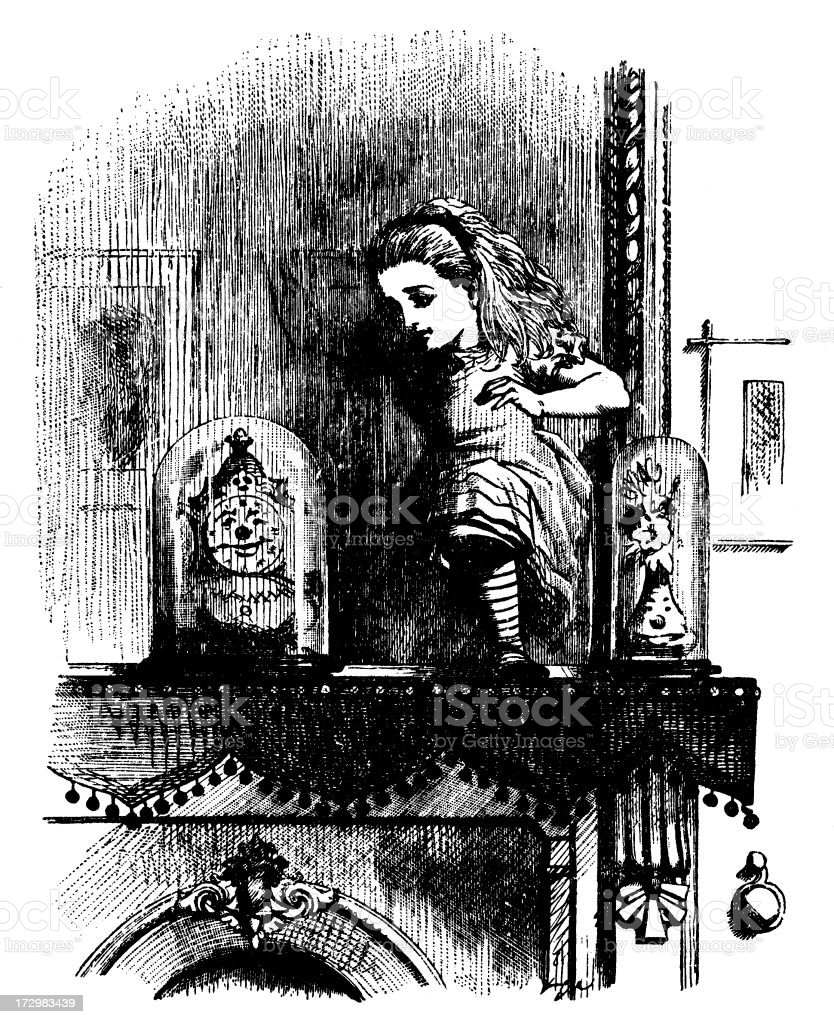 Alice on the mantlepiece illustration, (Alice's Adventures in Wonderland) royalty-free stock vector art