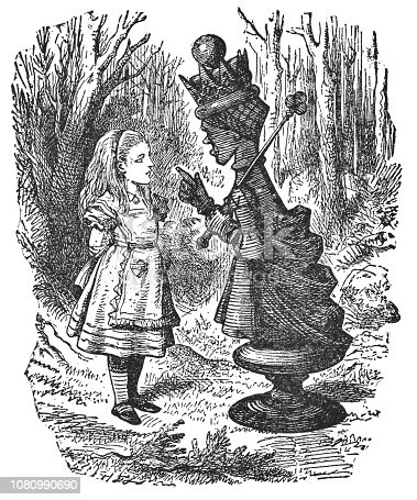 istock Alice Talking to the Red Queen in Through the Looking-Glass 1080990690