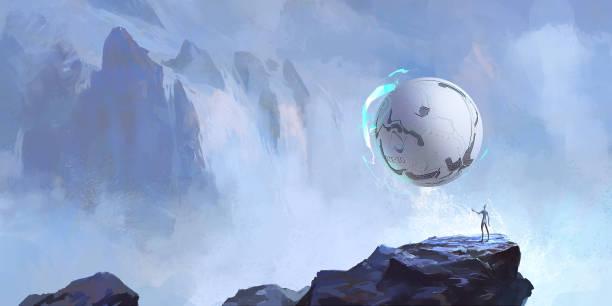 Alien und sein rundes Handwerk, Science-Fiction-Illustration, digitale Malerei. – Vektorgrafik