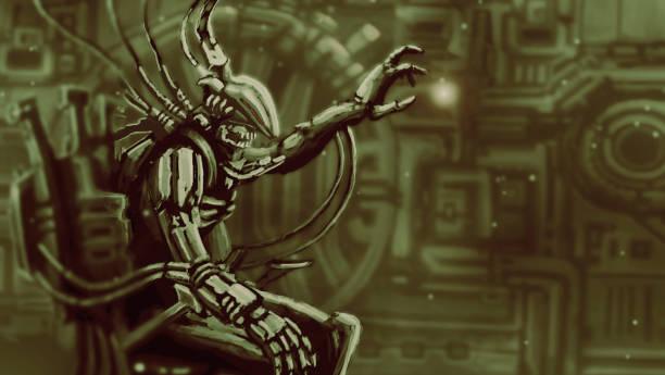 bildbanksillustrationer, clip art samt tecknat material och ikoner med utlänning astronaut i stol förvaltning - tron sci fi