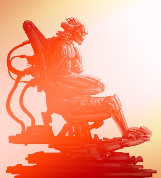 bildbanksillustrationer, clip art samt tecknat material och ikoner med utlänning astronaut sitter i kostym på tronen järn. science fiction illustration. - tron sci fi
