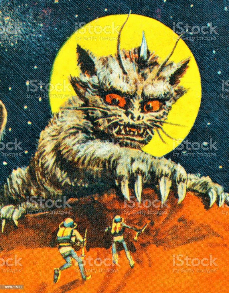 Alien Cat Monster vector art illustration