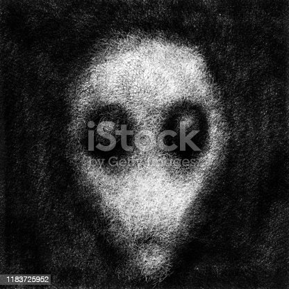Alien face with big black eyes. Black and white illustration in fiction genre with coal and noise effect.