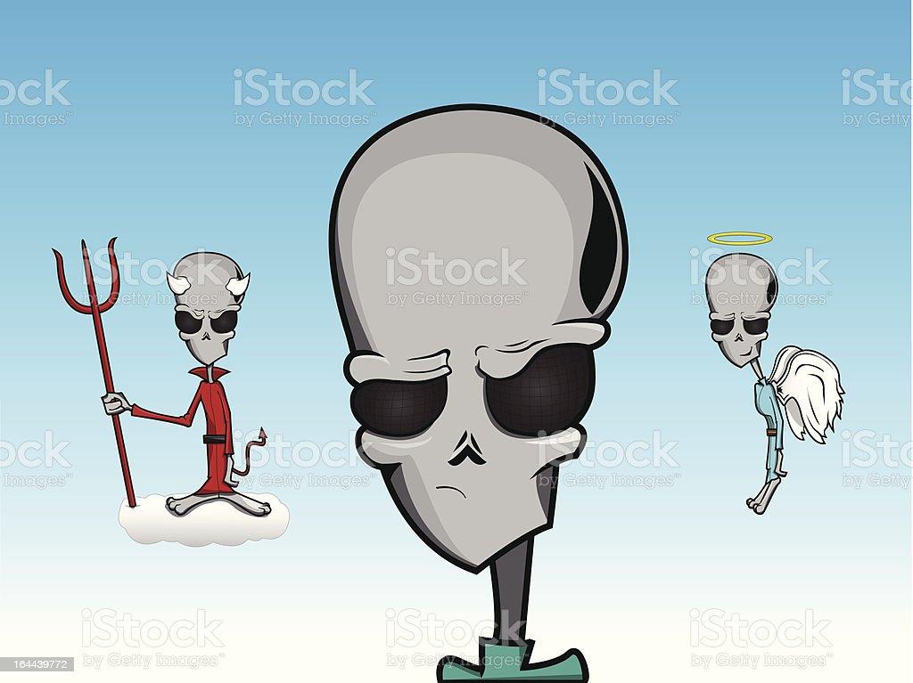Alien Good Vs Evil vector art illustration