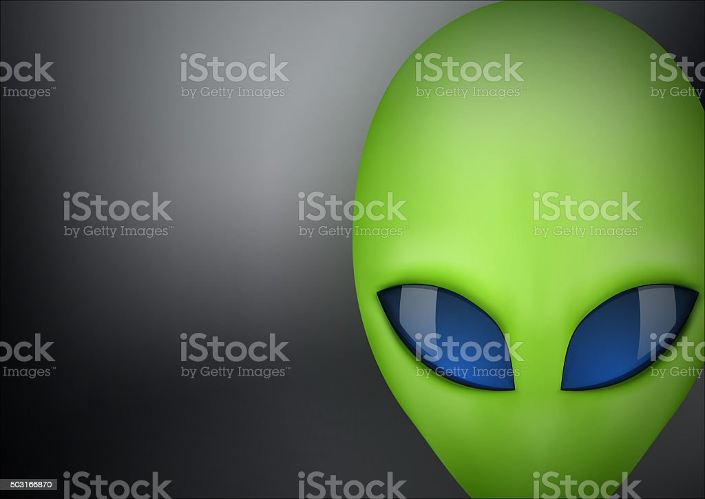 Alien head creature from another world vector art illustration