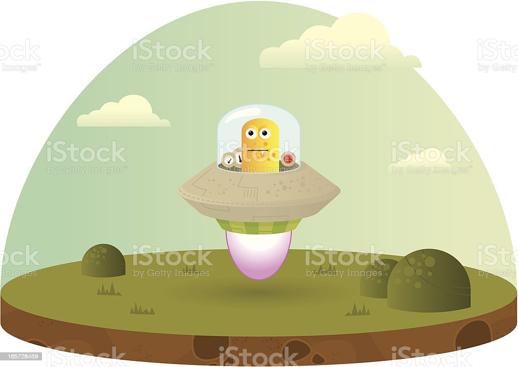 Alien in a flying saucer royalty-free alien in a flying saucer stock vector art & more images of alien