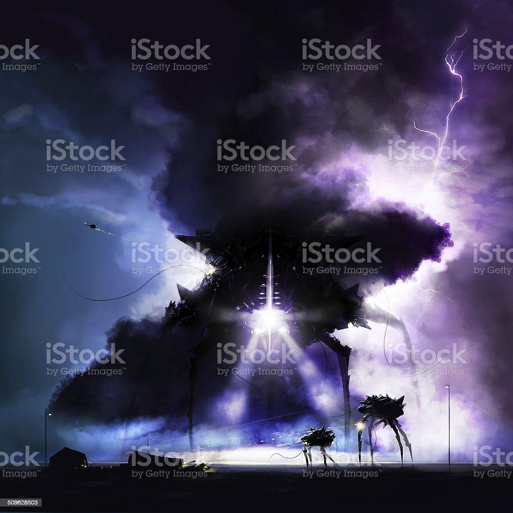 Alien invasion war vector art illustration