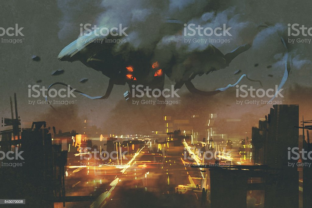 Alien monster invading night city vector art illustration
