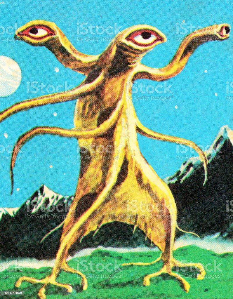 Alien Monster With 3 Eyes vector art illustration