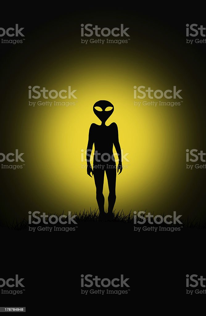 Alien silhouette vector art illustration
