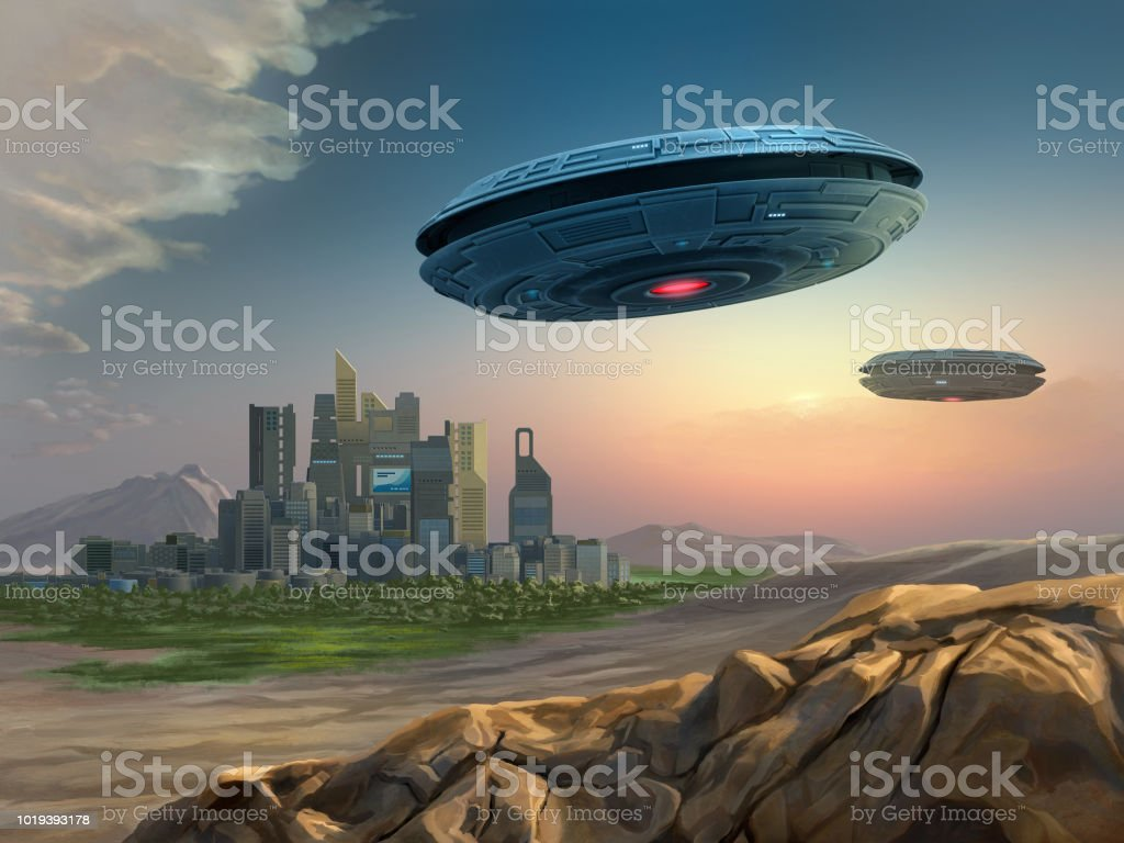 Alien Spaceships Approaching A City Stock Illustration Download