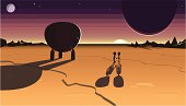 A cute alien couple and their space-craft landed on a distant planet to watch the setting sun.  Vector illustration with hi-res .jpg.