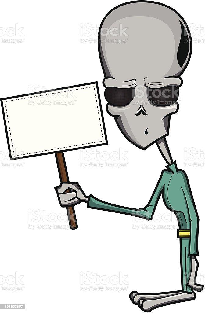 Alien with Sign vector art illustration