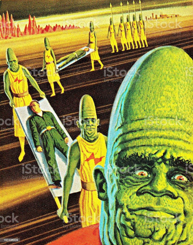 Aliens Taking a Human vector art illustration