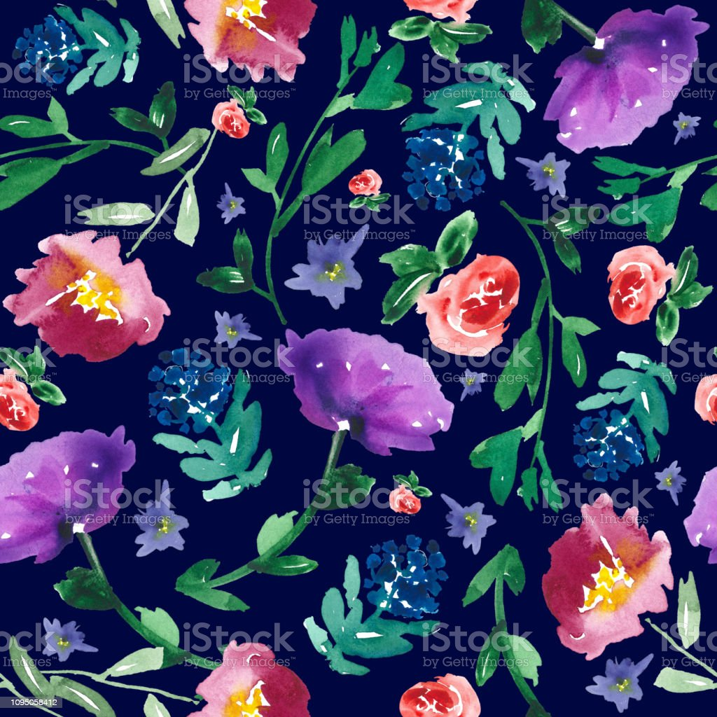 All Over Handpainted Floral Pattern Watercolor Flowers On Dark
