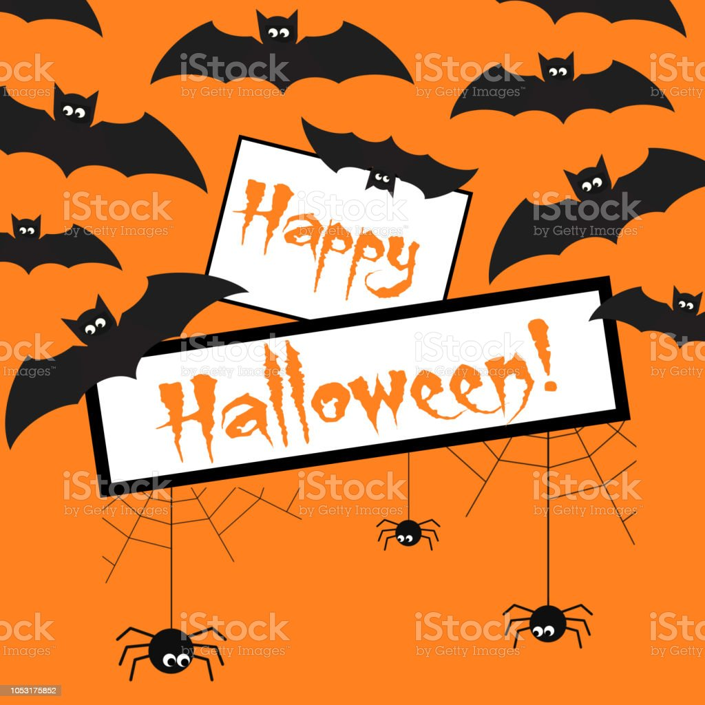 All Saints Day Greeting Card Happy Halloween Text Poster Carried By