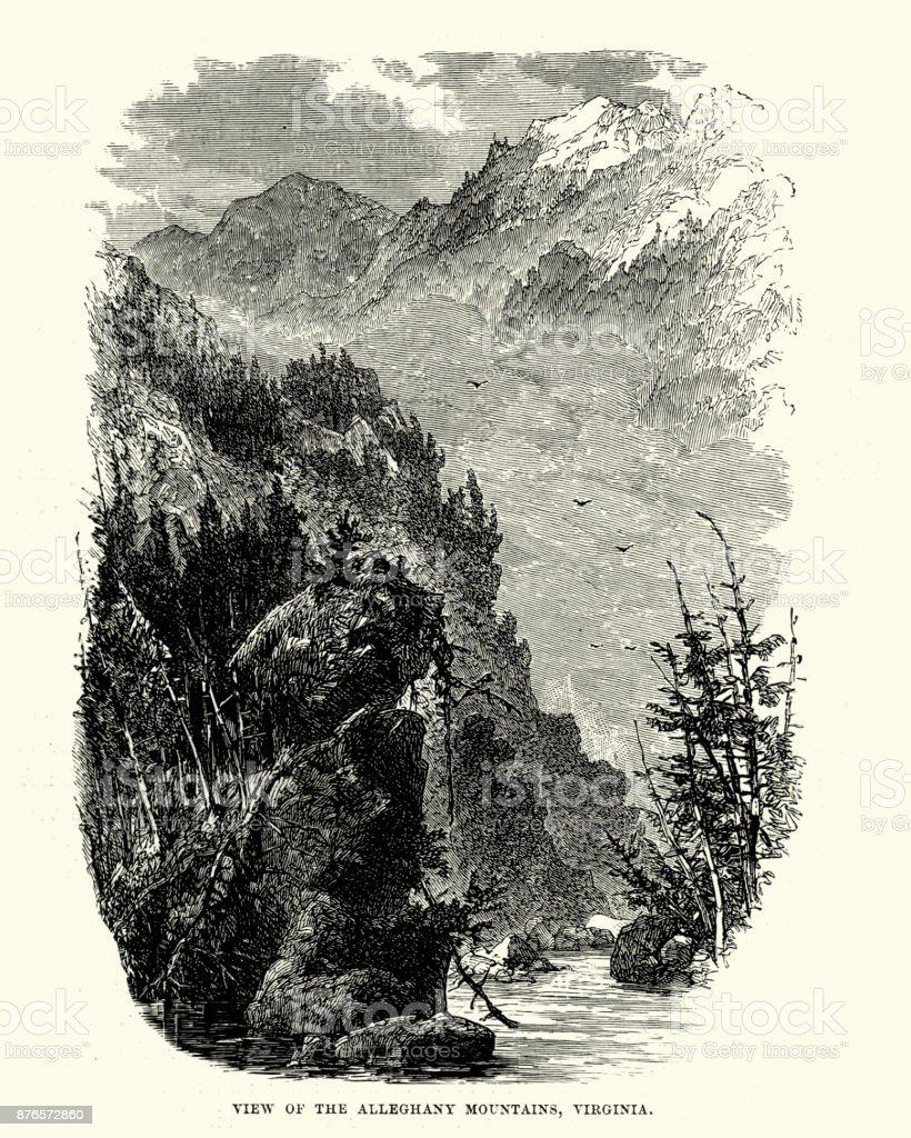 Alleghany Mountains, Virginia, 19th Century vector art illustration