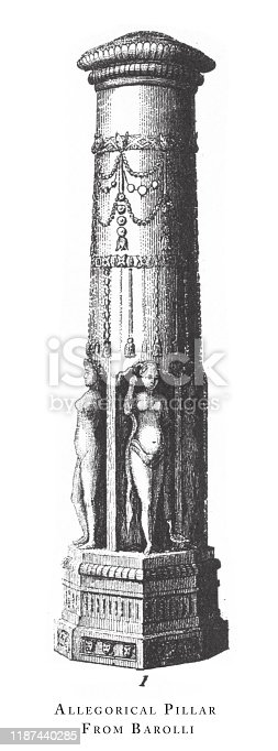 Allegorical Pillar from Barolli, Religious Scenes and Figures of the Far East Engraving Antique Illustration, Published 1851., Source: Original edition from my own archives. Copyright has expired on this artwork. Digitally restored.