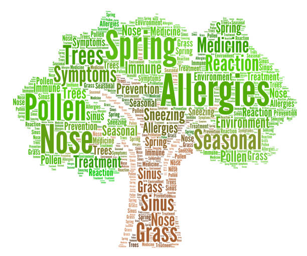 Allergies word cloud concept vector art illustration
