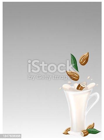 istock Almond milk, yogurt and coffee. Alternative organic milk products. No dairy allergy. 1347838358