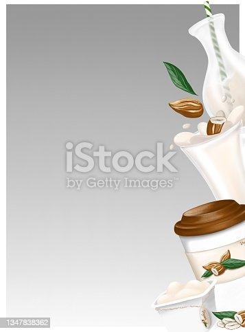 istock Almond milk, yogurt and coffee. Alternative organic milk products. No dairy allergy. 1347838362