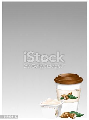 istock Almond milk, yogurt and coffee. Alternative organic milk products. No dairy allergy. 1347838432