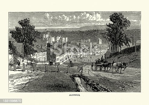 istock Alnwick a market town in Northumberland, England, Victorian, 19th Century 1331598870