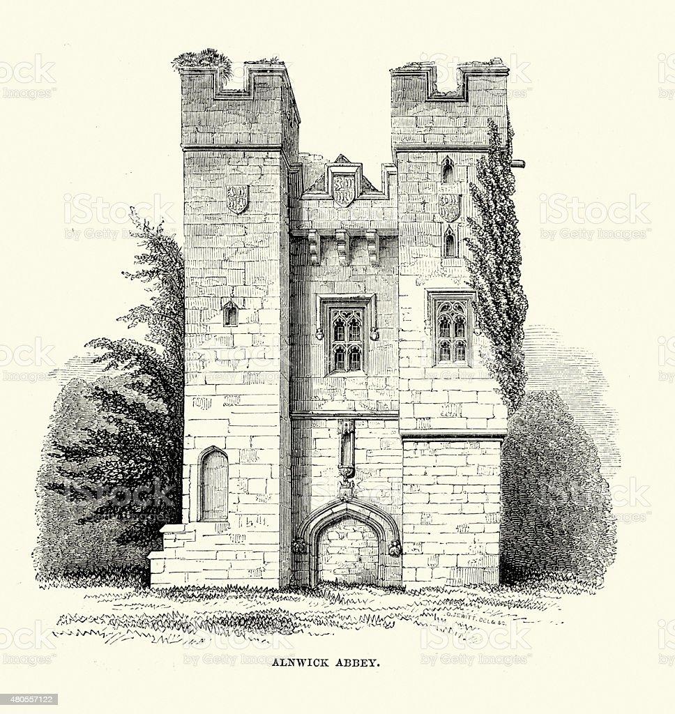 Alnwick Abbey vector art illustration