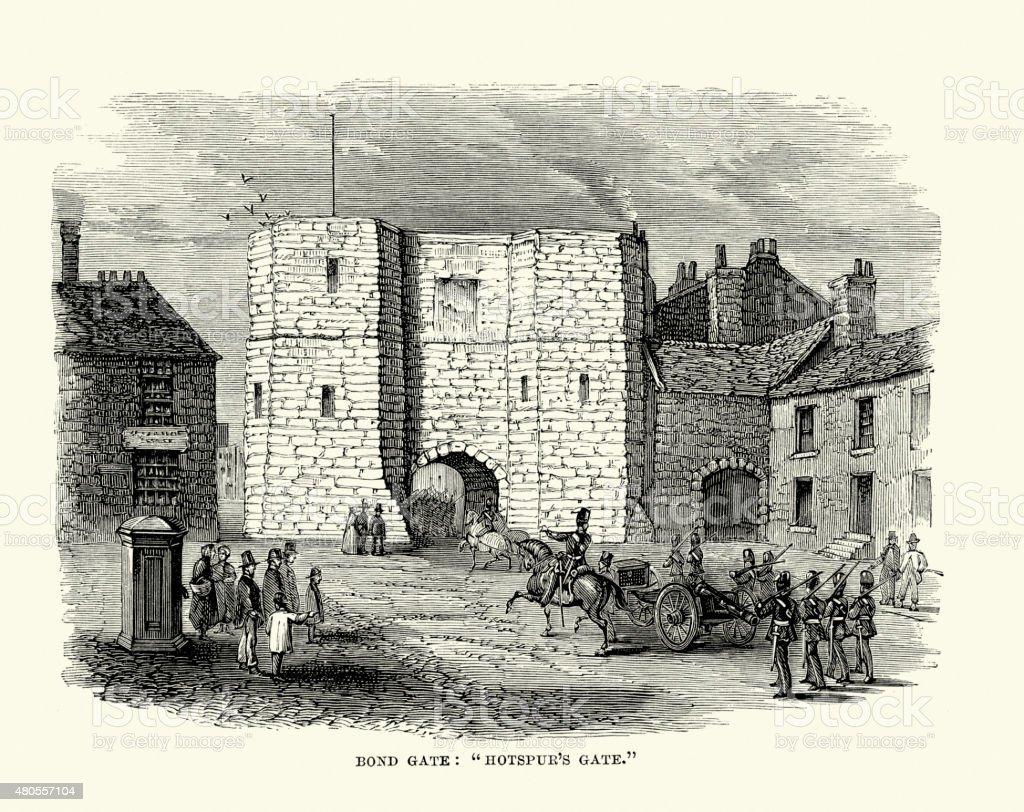 Alnwick Castle - Bond or Hotspur's Gate vector art illustration