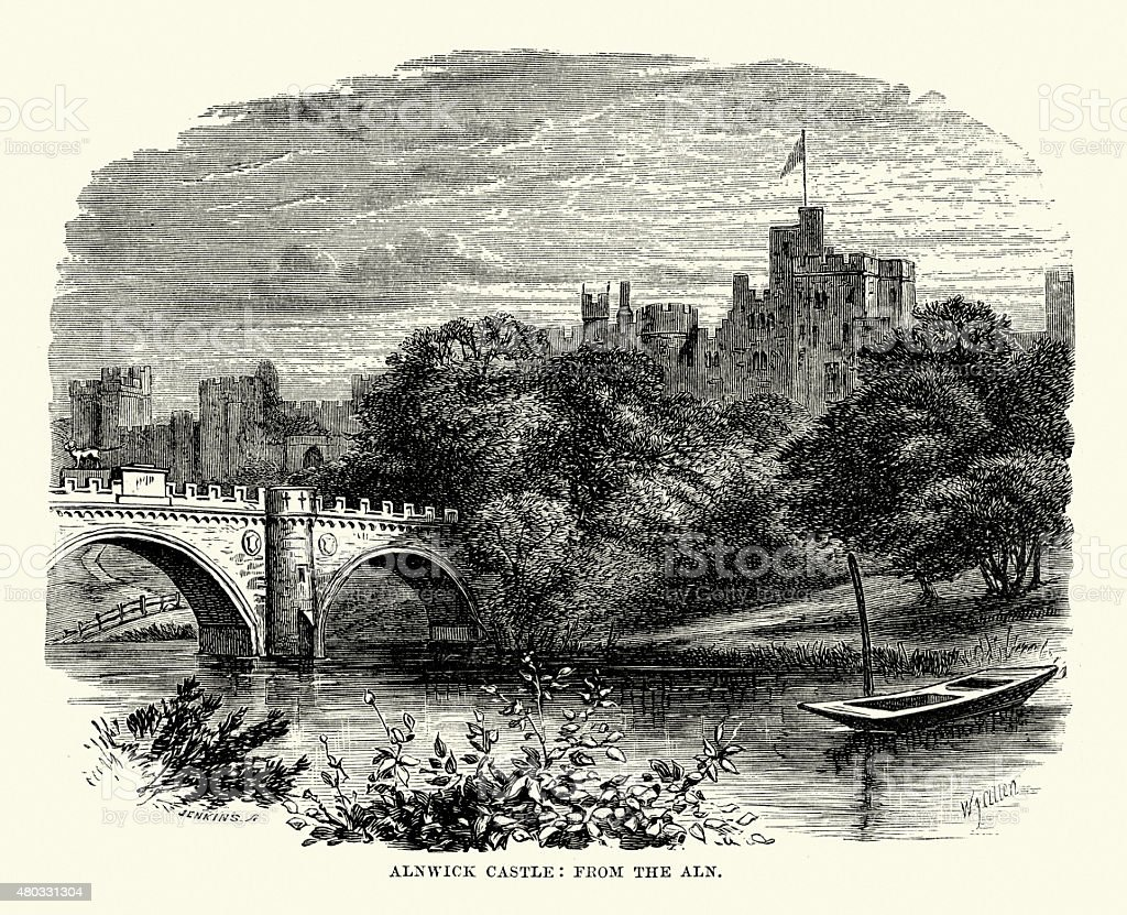 Alnwick Castle from the Aln vector art illustration