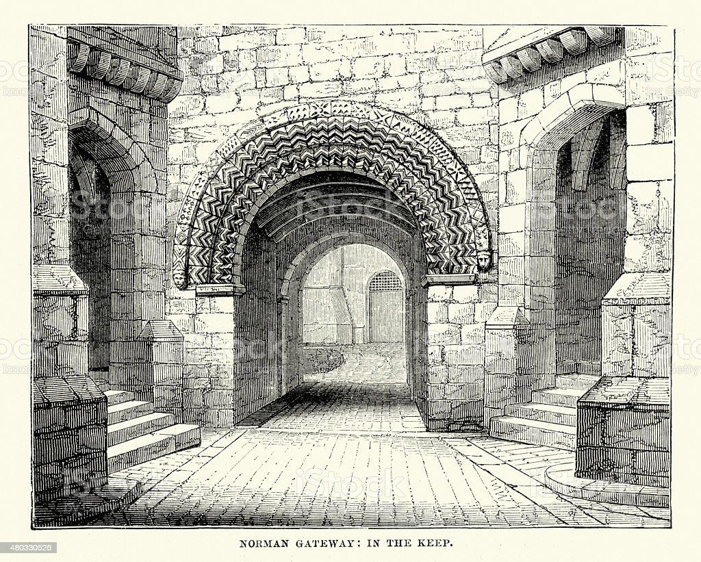 Alnwick Castle - Norman Gateway in the Keep vector art illustration