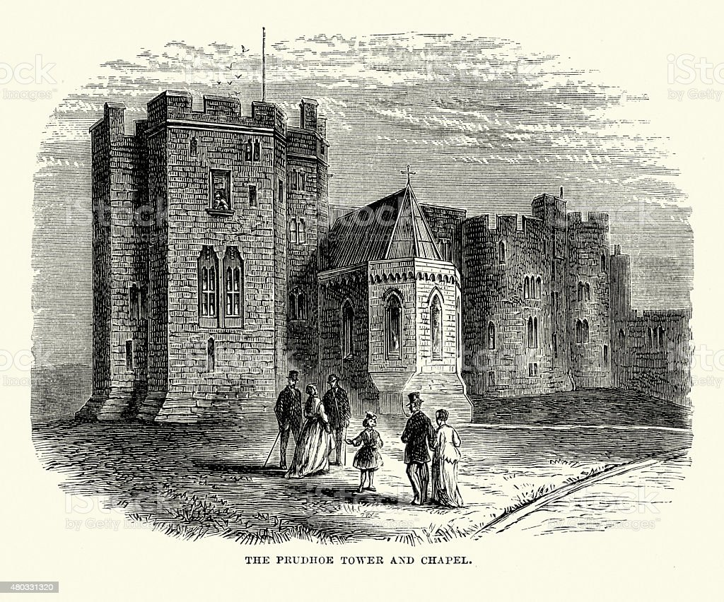 Alnwick Castle - Prudhoe Tower and Chapel vector art illustration