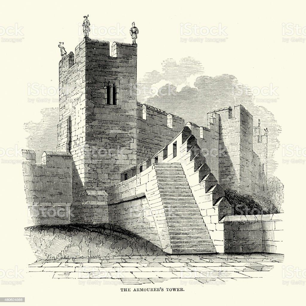 Alnwick Castle - The Armourer's Tower vector art illustration